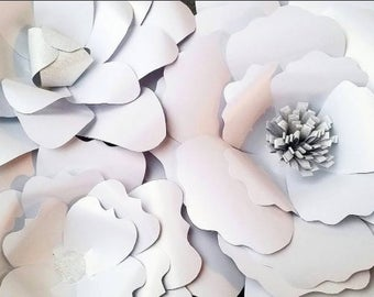 White and Silver Paper Flowers