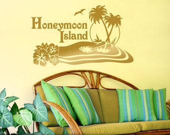 Honeymoon Island Beach Decor Personalized Wall Decal, Hibiscus Flowers, Palm Trees, Metallic Gold Island Oasis (01711d0v)
