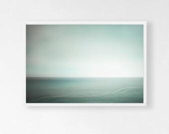Mist ~ Seascape Art Print Minimal Ocean Decor Misty Foggy Ireland Photography Color Field Soothing Calming Wall Art Copyright May Waynorth