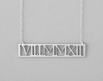 Roman Numeral Necklace, Personalized Gift, Custom Date Necklace, Roman Date Jewelry, Gift For Her