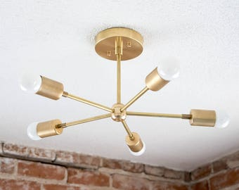 In Stock! Modern Chandelier Gold Five 5 Arm Pinwheel Bulb Brass Sputnik Mid Century Semi Flush Industrial Light UL Listed