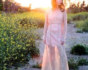 90s Vintage Lace Dress, ivory lace maxi