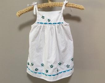 Vintage Girls Dress, White Embroidered Sundress, Girls Vintage Jumper Tying Straps Kids Vintage Dress White Blue Flowers Embroidered Dress S