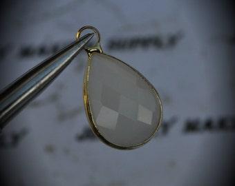 Gold Plated Bezel Brass Faceted Glass Tear Drop Pendant - White Opal