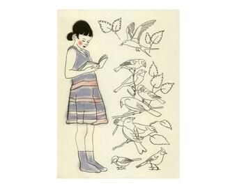 Nursery wall art  Diana the Reader of bird books -  8.3 X 11.7 print - 4 for 3 SALE