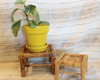 Bamboo plant stands/vintage bamboo stools/set of two plant stands