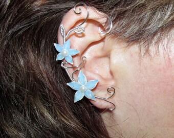 Wedding earrings, bridal earrings, Wedding Ear cuff, Flower ear cuff, bridal ear cuff, Swarovski, no piercing earrings, Wedding jewelry