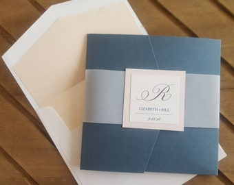 Romantic Palest Pink and Steel Blue Layered Pocketfold Invitation