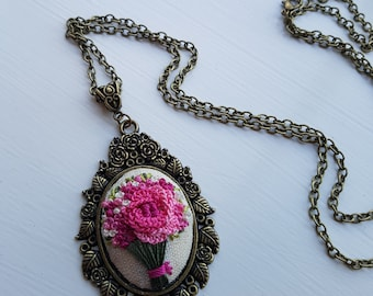 Embroidered Pendant Floral Pink Flowers Necklace Ready to be shipped