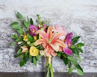 Wedding Flowers, Tropical Bouquet, Silk Flower Bouquet, Wedding Bouquet, Bridal Bouquet, Lily Bouquet, Destination Wedding Bouquet
