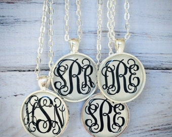 Silver Monogram necklace, Monogrammed gifts, Bridesmaid Gift, Personalized Jewelry, Initial Necklace, Keepsake,  Bridal Party, Weddings