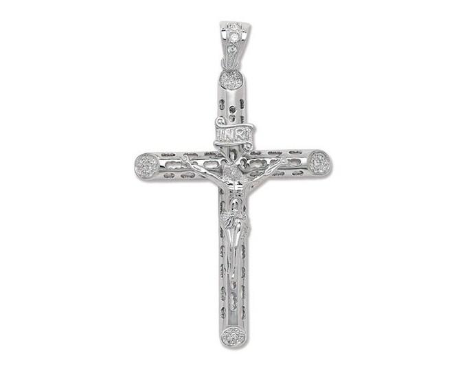 Large 925 Sterling Silver Cz Round Tube Crucifix Pendant 9x5.5cm Hallmarked