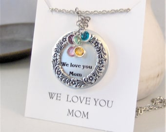We Love You Mom,Mom Necklace,Birthstone Necklace,Personalzied Jewelry,Jewelry for Mom,Mothers Day,Mom Locket,Mom Jewelry,Mom Necklace,Mother