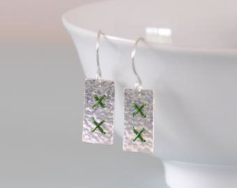 Green Metalwork Cross Stitch Earrings - Rectangle Sterling Silver Wire Wrapped Hammered Jewellery Dangle Earrings by Emma Dickie Design
