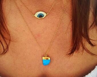 Gold Evil Eye Necklace, Evil Eye Pendant, Turquoise Necklace, Turquoise Stone Necklace, Turquoise Pendant, Evil Eye Jewelry, Dainty Necklace