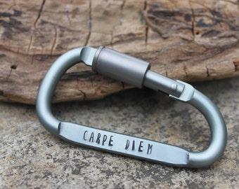 Hand Stamped Aluminum Carabiner, Personalized Carabiner