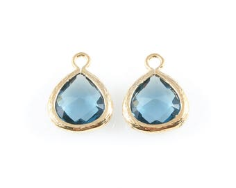 2pcs Montana Blue Faceted Glass Charm in Gold, Framed Glass Gem / Birthstone / September / Sapphire / 10.5mm x 14mm / GMBG-003-P (Small)