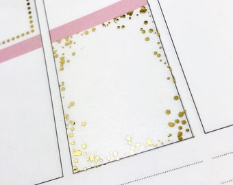 Confetti Border Full Boxes FOIL | Matte Glossy Clear Foiled Planner Stickers