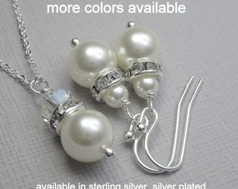 Bridesmaid Gift, White Pearl Bridesmaid Jewelry Set, Bridesmaid Gift Jewelry Set, Bridesmaid Gift, Maid of Honor Gift, Bridesmaid Necklace