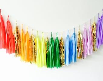Rainbow Tissue Tassel Garland - Balloon Tail, Party Decor, Event Decor, Wedding Decor, Garland, bunting