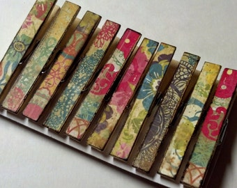 Gypsy floral decoupage themed clothespins set of 10