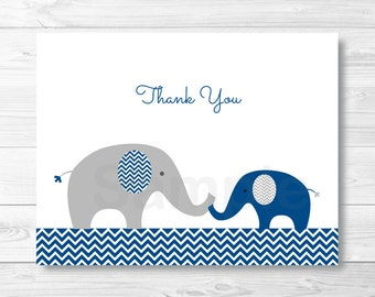 Cute Navy & Grey Elephant Thank You Card / Elephant Baby Shower / Baby Boy Shower / Folded Card / PRINTABLE Instant Download A219