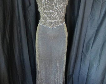 1990's Reggio slinky black and metallic gold long dress great for prom or disco size 4