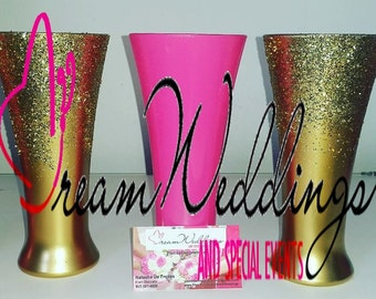 Set of 3-Gold Metallic Vase,wedding vase,bling vase,sweet 16,glitter vase,hot pinkvase,pink vase,pink and gold vase ,wedding centerpieces