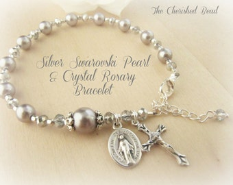 Beautiful Silver Swarovski Pearl and Crystal Rosary Bracelet