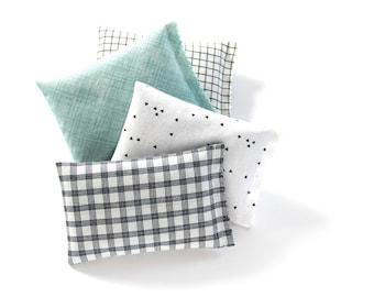 4 Organic Lavender Sachets, Modern Decor, Black & White Plaid Check, Triangles, Sage Green