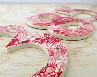 Red House Numbers, Large Numbers, House Tiles, Outdoor Numbers, Ceramic Numbers, Address Numbers, 5 inch, 6 inch, handmade, jclay