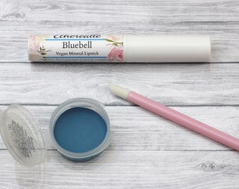 "Blue Lipstick - ""Bluebell"" (bright blue lipstick - vegan) natural lip tint, balm, lip colour opaque mineral lipstick"