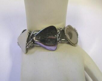 Vintage Silver tone Modernist Minimalist Link Bracelet