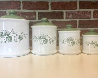 Vintage Corelle Callaway 4 Piece Canister Set - Made by Jay Import Company