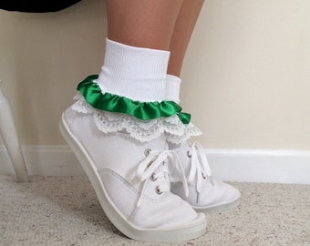 Sexy socks, ladies white cuffed ankle socks edged in lace and green satin, St. Patrick's Day socks