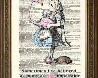 """Prints on Dictionary Paper: SIX IMPOSSIBLE THINGS Alice in Wonderland Original Antique Art Print (8 x 10"""")"""