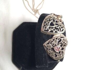 vintage 925 sterling silver heart locket necklace and gem/ stone