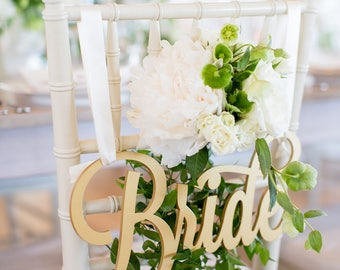 Bride and Groom Chair Signs for Wedding, Hanging Chair Signs Wooden Wedding Signs Bride & Groom Decorations for Chairs (Item - LBG200)