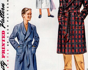 FREE US SHIP Vintage Retro 1950's 50's Sewing Pattern Simplicity 4133 Boys Terry Cloth Wrap Bath Robe Double Breasted Uncut Size 6 Chest 24