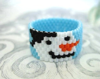 Peyote Ring Snowman - size 4, 5, 6, 7, 8, 9, 10, 11, 12, 13 Beaded Band Seed Bead