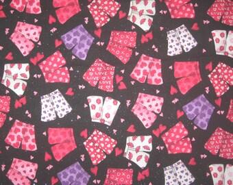 "Valentine boxers on black fabric 31"" X 42"""