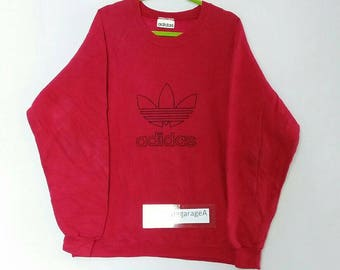 Rare!! Adidas sweatshirt big logo spellout pull over jumper hip hop red colour large size