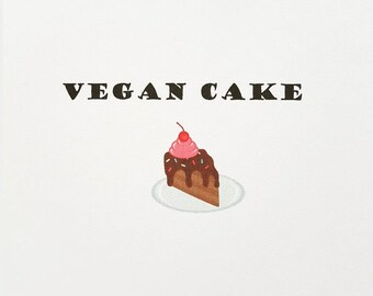 Vegan Cake - Vegan Birthday/Occassion Card