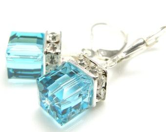 Bright Teal Crystal Earrings, Sterling Silver, Aquamarine Swarovski Cube Dangle, Drop Bridesmaids Earrings, March Birthstone Wedding Jewelry