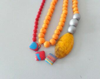 Yellow orange necklace, colorful necklace, long necklace, boho necklace