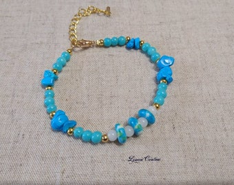 Turquoise jade bracelet Ocean glass beads and turquoise chips, women bracelet, women jewelry