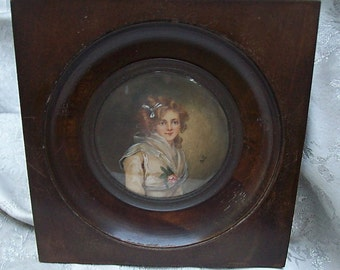 Antique Framed MINIATURE PORTRAIT PAINTING Signed by Artist - Lady with Flower
