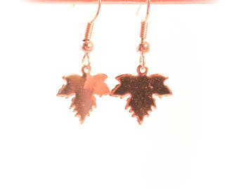 Rose gold earrings, with maple leaf charms