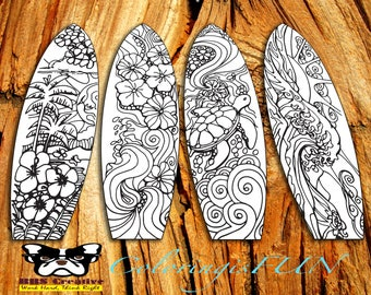 8 Sets Coloring Surfboard Bookmarks Doodles And Intricate Designs Quality Printable For Bible Journaling Adventure Theme