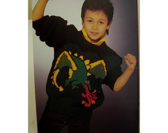Childrens Dragon Sweater Knitting Pattern, Cats, Rabbit, Elephants, Ducks, Panda, Patons No. 499 Child Sizes 2-12, Women Sm-Large